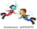 vector illustration of scuba... | Shutterstock .eps vector #669544570