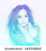 double color exposure effect of ... | Shutterstock . vector #669548860