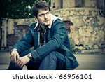 young man wearing jeans clothes ... | Shutterstock . vector #66956101