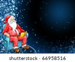 Santa claus with dark blue background - stock photo