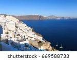 village of oia   island of...   Shutterstock . vector #669588733