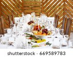 table setting food celebration... | Shutterstock . vector #669589783