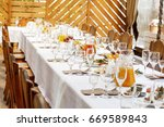 table setting food celebration... | Shutterstock . vector #669589843
