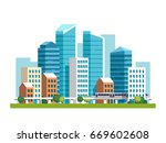urban landscape with high... | Shutterstock .eps vector #669602608