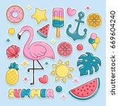 summer beach elements stickers. ... | Shutterstock .eps vector #669604240