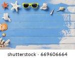 holiday  vacation seashells and ... | Shutterstock . vector #669606664