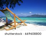 beach chair on the beach  the... | Shutterstock . vector #669608800