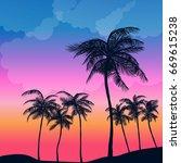 summer palm sunset | Shutterstock .eps vector #669615238