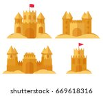 beach sandcastle set. children... | Shutterstock .eps vector #669618316