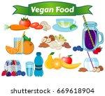 vegan food set  carrot  tomato  ... | Shutterstock .eps vector #669618904