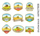 cillection of labels with the... | Shutterstock .eps vector #669627808
