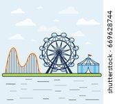 amusement park. vector... | Shutterstock .eps vector #669628744