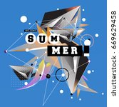 trendy vector summer cards... | Shutterstock .eps vector #669629458