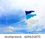 blue and white triangle flags... | Shutterstock . vector #669631870