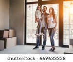 happy family with cardboard... | Shutterstock . vector #669633328