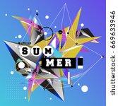 trendy vector summer cards... | Shutterstock .eps vector #669633946