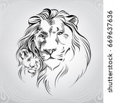 Stock vector silhouette of lion with the young lion 669637636