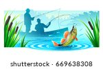 fishermen silhouettes fishing... | Shutterstock .eps vector #669638308