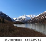 portage lake landscape | Shutterstock . vector #669639763