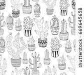 hand drawn cactus pattern | Shutterstock .eps vector #669645658