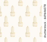 hand drawn golden cactus pattern | Shutterstock .eps vector #669646078
