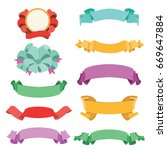 ribbons in flat style. flat... | Shutterstock .eps vector #669647884