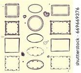 hand drawn boho style frames. | Shutterstock . vector #669669376