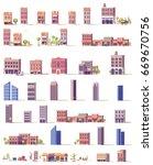 vector low poly 2d buildings set   Shutterstock .eps vector #669670756