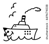 a ship at sea black and white... | Shutterstock .eps vector #669674038