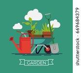 garden vector concept design... | Shutterstock .eps vector #669684379