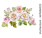 watercolor roses bouquet | Shutterstock . vector #669686023