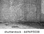 black and white abandoned... | Shutterstock . vector #669695038