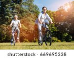 imaginative nice son taking his ... | Shutterstock . vector #669695338