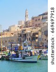 old town and port of jaffa of... | Shutterstock . vector #669697918