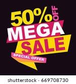 mega sale banner. vector... | Shutterstock .eps vector #669708730