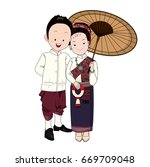 wedding cartoon vector  groom... | Shutterstock .eps vector #669709048