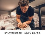 master brewer checking the... | Shutterstock . vector #669718756