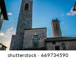 tall towers in the medieval... | Shutterstock . vector #669734590