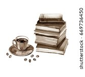 Watercolor Old Books And Cup O...