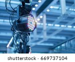 led light on mall roof. | Shutterstock . vector #669737104