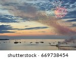 tranquil seaside scene with... | Shutterstock . vector #669738454