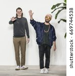 Small photo of NEW YORK, NY - February 01, 2017: Designers Shane Fonne and Brandon Capps walk the runway at the Palmiers du Mal show during New York Fashion Week Men's F/W 2017