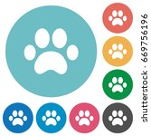 paw prints flat white icons on... | Shutterstock .eps vector #669756196