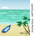a simple wooden boat on empty... | Shutterstock .eps vector #669762499