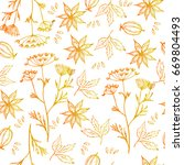 seamless pattern with hand... | Shutterstock .eps vector #669804493