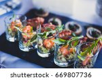 beautifully decorated catering... | Shutterstock . vector #669807736
