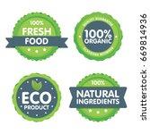 modern green eco badge set. 100 ... | Shutterstock .eps vector #669814936
