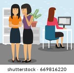 two businesspeople bullying a... | Shutterstock .eps vector #669816220