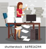 young stressed woman in office... | Shutterstock .eps vector #669816244