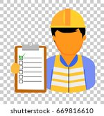 engineer man holding checklist... | Shutterstock .eps vector #669816610